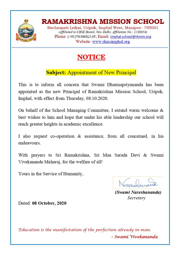 Appointment of the New Principal